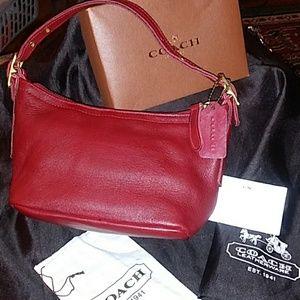 ❤Beautiful Red Leather Coach Mini Haley Bag